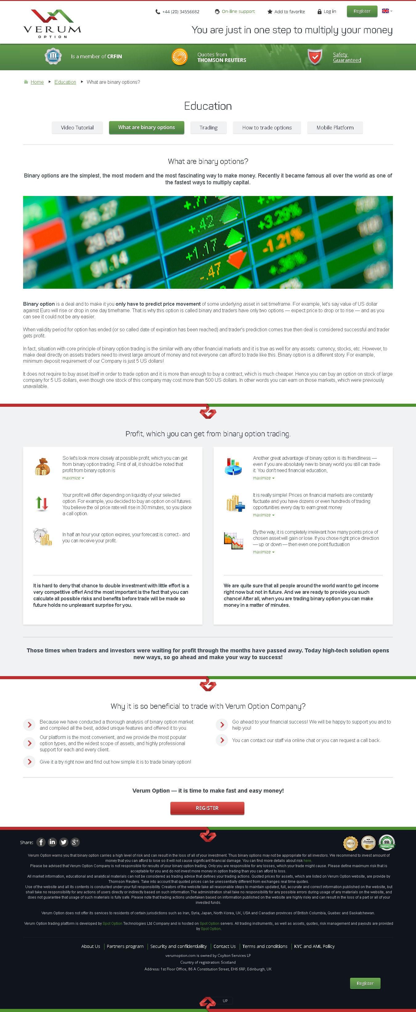 Verum Option Trade Reviews az internetes pénzkeresésről szóló webhelyek értékelése
